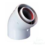 коаксиальный дымоход купить отвод коаксиальный 45° 60/100 мм